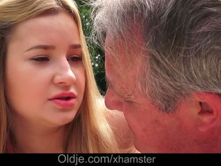 Cherry Bright Delicious Lips Lets Grandpa Cum in Her Ass