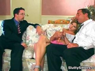 Hot Babysitter Sucks 2 Very Lucky Males