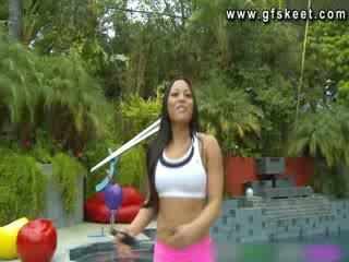 Sexy latin adrianna luna is fucked by her trainer
