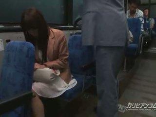 japanese, babe, public, bus, jav, handjob