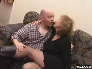 Old wrinkled Blonde Escort eats up boner